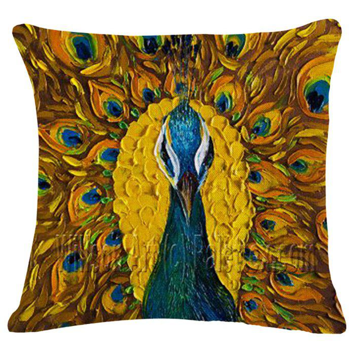 Chic Peacock Oil Painting Pattern Square Shape Pillowcase (Without Pillow Inner) handpainted peacock and leaf pattern pillow case