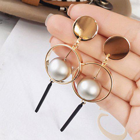 Pair of Small Ball Hollow Circle Rectangle Pendant Earrings - GOLDEN