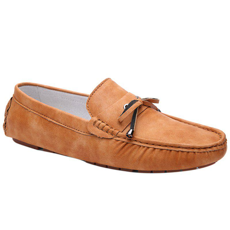 Trendy Stitching and Solid Colour Design Men's Casual Shoes - LIGHT BROWN 40