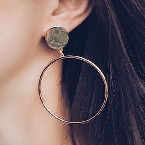 Pair of Chic Hollow Circle Ring Pendant Women's Earrings - GOLDEN