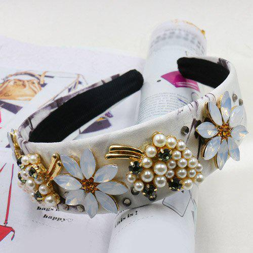 Elegant Faux Crystal Pearl Decorated Flower Leaf Hairband For Women