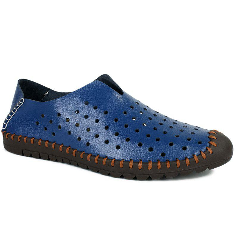 Trendy Stitching and Hollow Out Design Men's Casual Shoes - BLUE 44