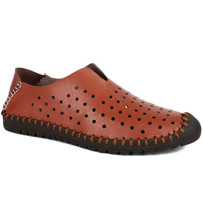 Trendy Stitching and Hollow Out Design Men's Casual Shoes - BROWN 42