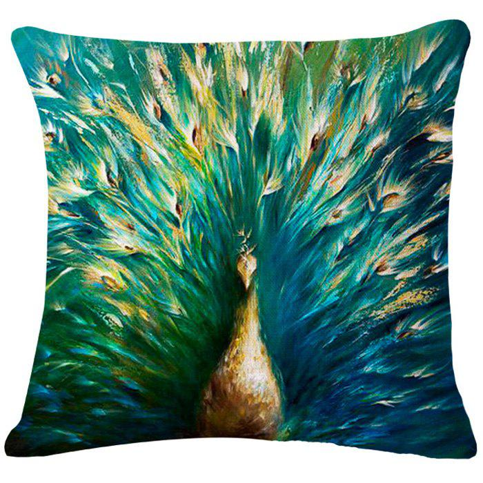 Chic Peacock Oil Painting Pattern Square Shape Flax Pillowcase (Without Pillow Inner) - GREEN