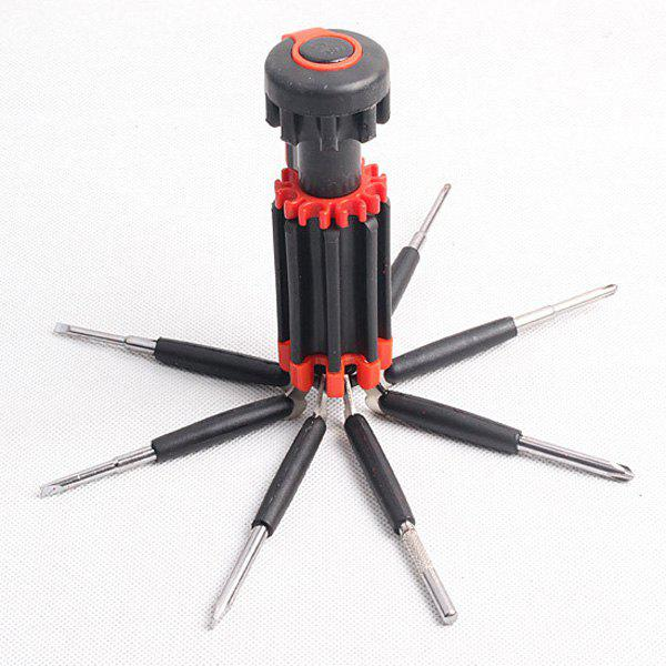 Portable Multifunctional 8 in 1 Screwdrivers Toolkit with 6 LEDs For Outdoor Activities - RED/BLACK