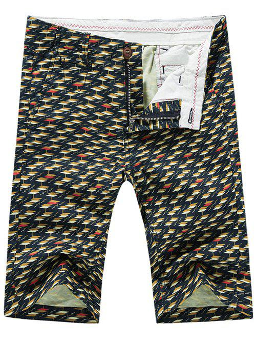Fashion Zip Fly Rhombus Checked Printed Men's Shorts - COLORMIX 34