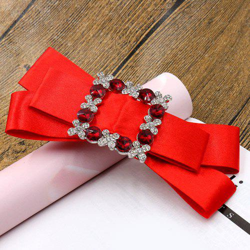 Elegant Rhinestone Bowknot Solid Color Hairpin For Women - RED