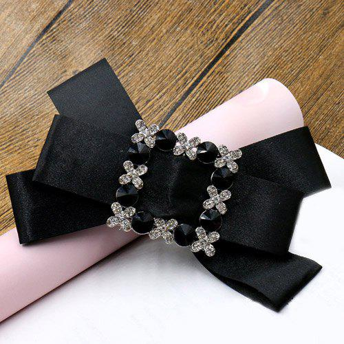 Elegant Rhinestone Bowknot Solid Color Hairpin For Women - BLACK