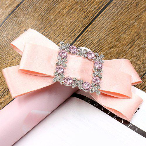 Elegant Rhinestone Bowknot Solid Color Hairpin For Women - PINK