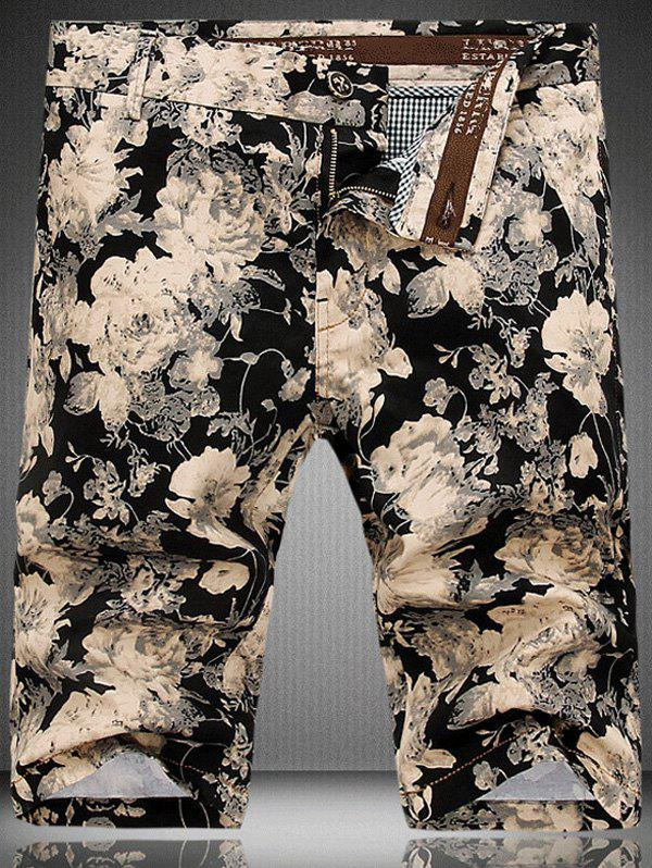 Men's Fashion Zip Fly Flowers Printed Shorts