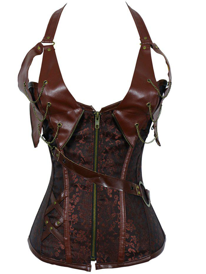 Alluring Women's Floral Patchwork Halter Corset - BROWN 3XL
