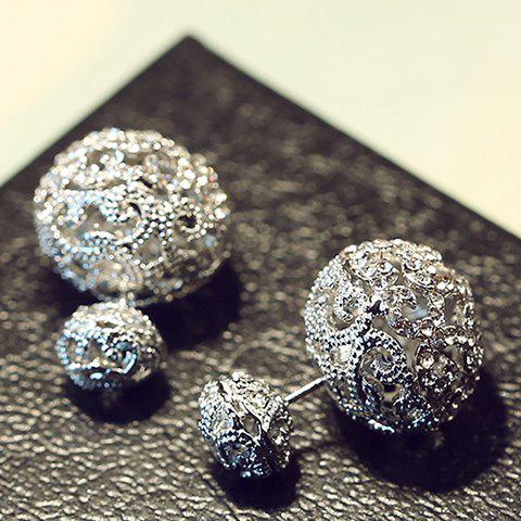 Pair of Chic Rhinestone Hollow Out Carve Ball Women's Earrings - GUN METAL