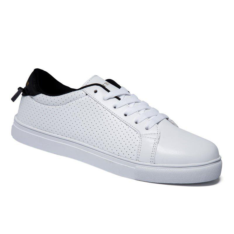 Trendy Colour Matching and Lace-Up Design Men's Casual Shoes - WHITE/BLACK 40