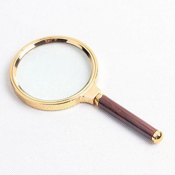 Chic Quality Imitation Wood Handle 90MM 10x Metal Frame Magnifying Glass - COLORMIX