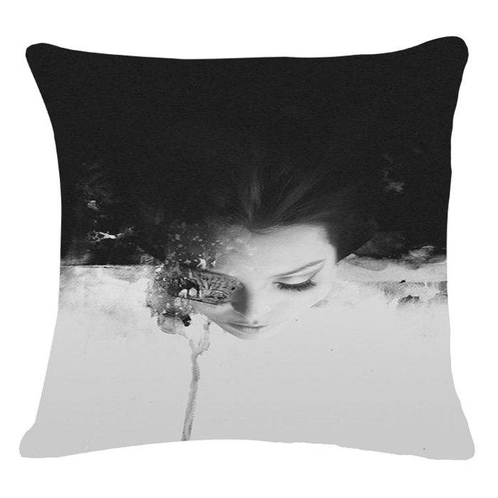 Stylish Person Portrait Pattern Square Shape Flax Pillowcase (Without Pillow Inner) - BLACK