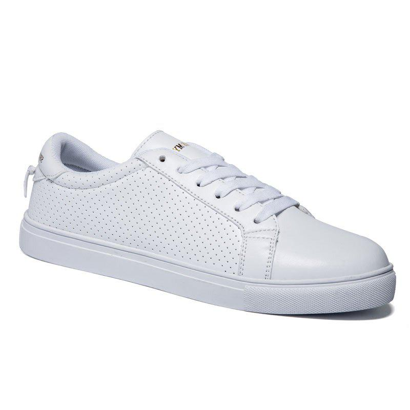 Fashionable PU Leather and Solid Colour Design Men's Casual Shoes - WHITE 42