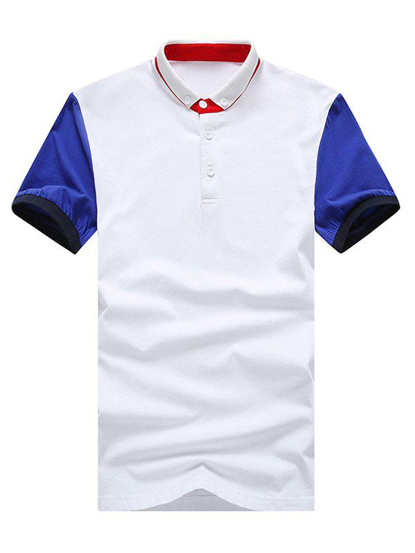 Color Block Splicing Plus Size Turn-Down Collar Short Sleeve Men's Polo T-Shirt - WHITE XL