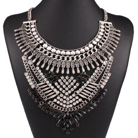 Rhinestone Resin Geometric Hollow Out Necklace - SILVER