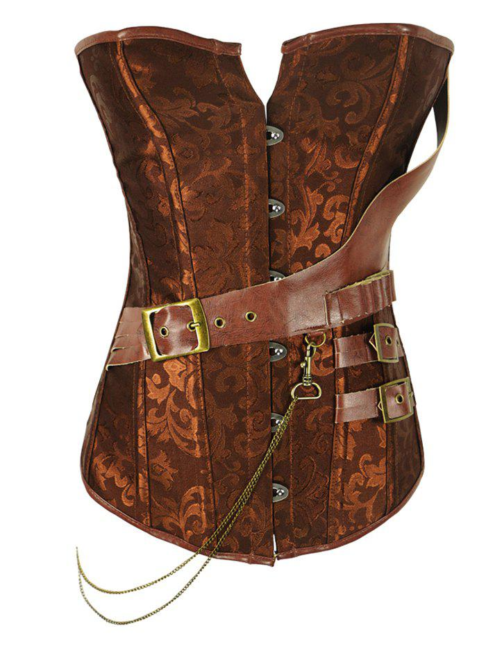 Retro Style Women's Steel Boned Patchwork Floral Corset - BROWN 4XL