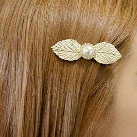 Chic Faux Pearl Leaf Shape Women's Barrette - GOLDEN