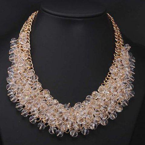Fake Crystal Beads Statement Necklace - GOLDEN