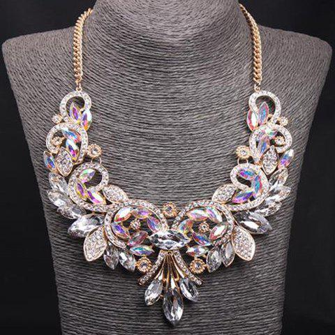 Faux Crystal Rhinestone Flower Cirrus Necklace - COLORMIX
