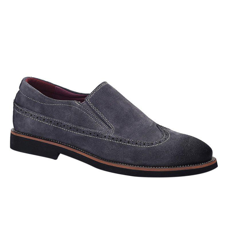 Trendy Suede and Engraving Design Men's Casual Shoes - DEEP GRAY 39