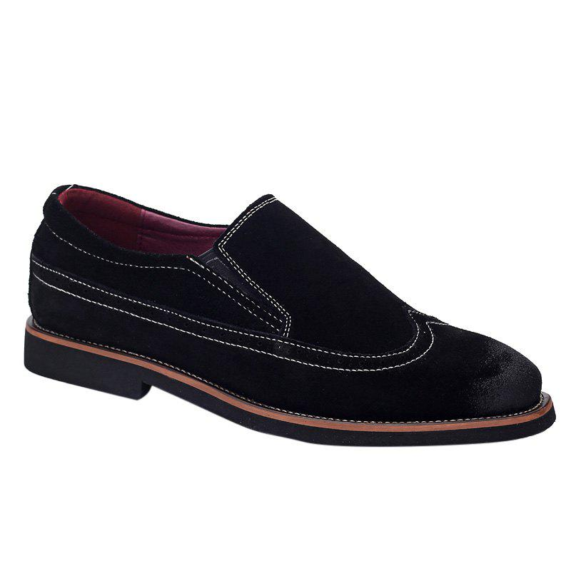 Stylish Black Colour and Suede Design Men's Casual Shoes - BLACK 39