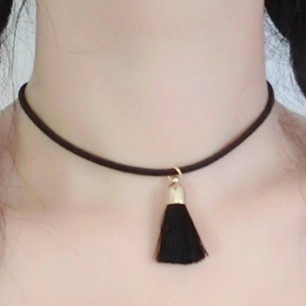 Chic Small Tassel Women's Black Chokers Necklace