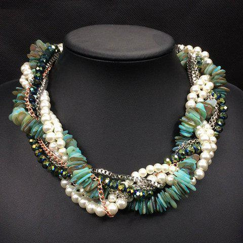 Retro Faux Pearl Multilayer Beads Chain Interwind Necklace - GREEN