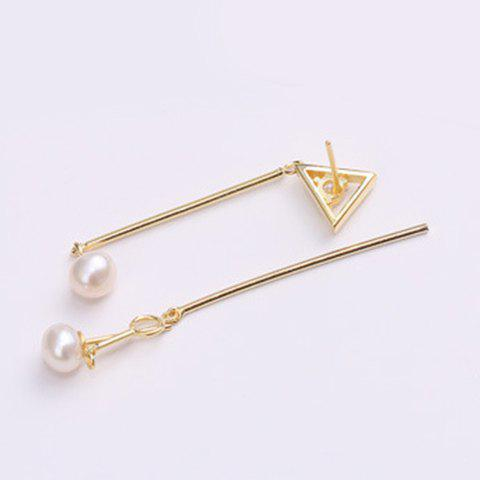 Pair of Chic Faux Pearl Triangle Asymmetric Pendant Women's Earrings