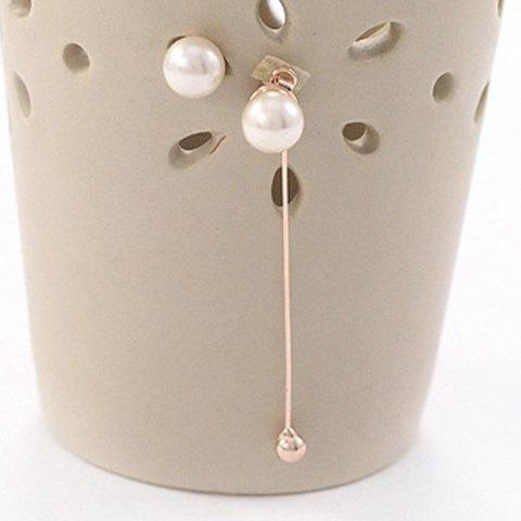 Pair of Chic Faux Pearl Asymmetric Pendant Women's Earrings -  ROSE GOLD