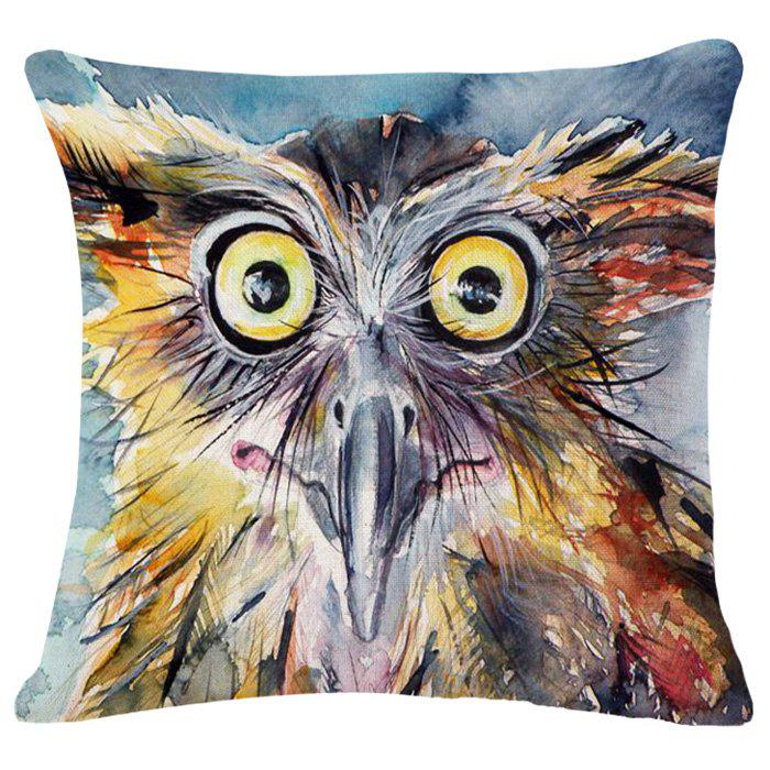 Fashionable Owl Hand Painting Pattern Square Shape Pillowcase (Without Pillow Inner)
