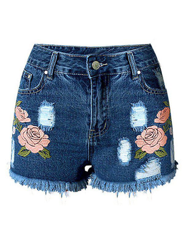 Charming Embroidered Flower Zipper Fly Ripped Denim Shorts For Women - L DEEP BLUE