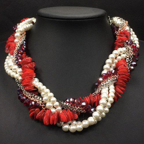 Retro Faux Pearl Beads Multilayer Chain Interwind Necklace For Women