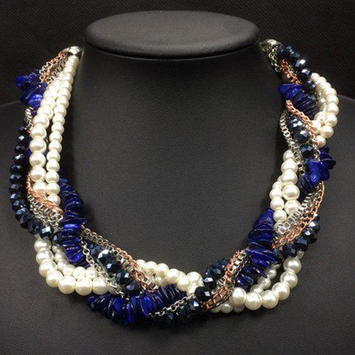 Faux Pearl Beads Chain Multilayer Interwind Necklace - BLUE