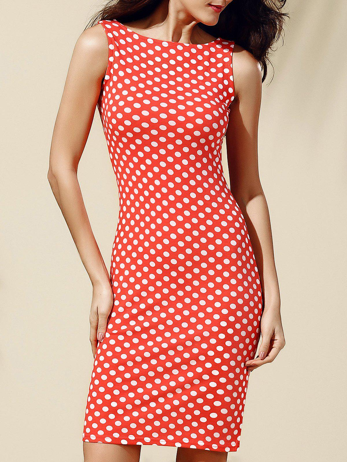 Chic Sleeveless Polka Dot Jewel Neck Dress For Women - ORANGEPINK S