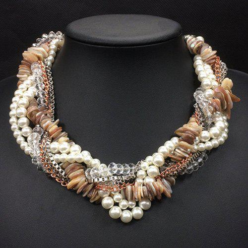 Multilayer Interwind Faux Pearl Beads Chain Necklace - KHAKI