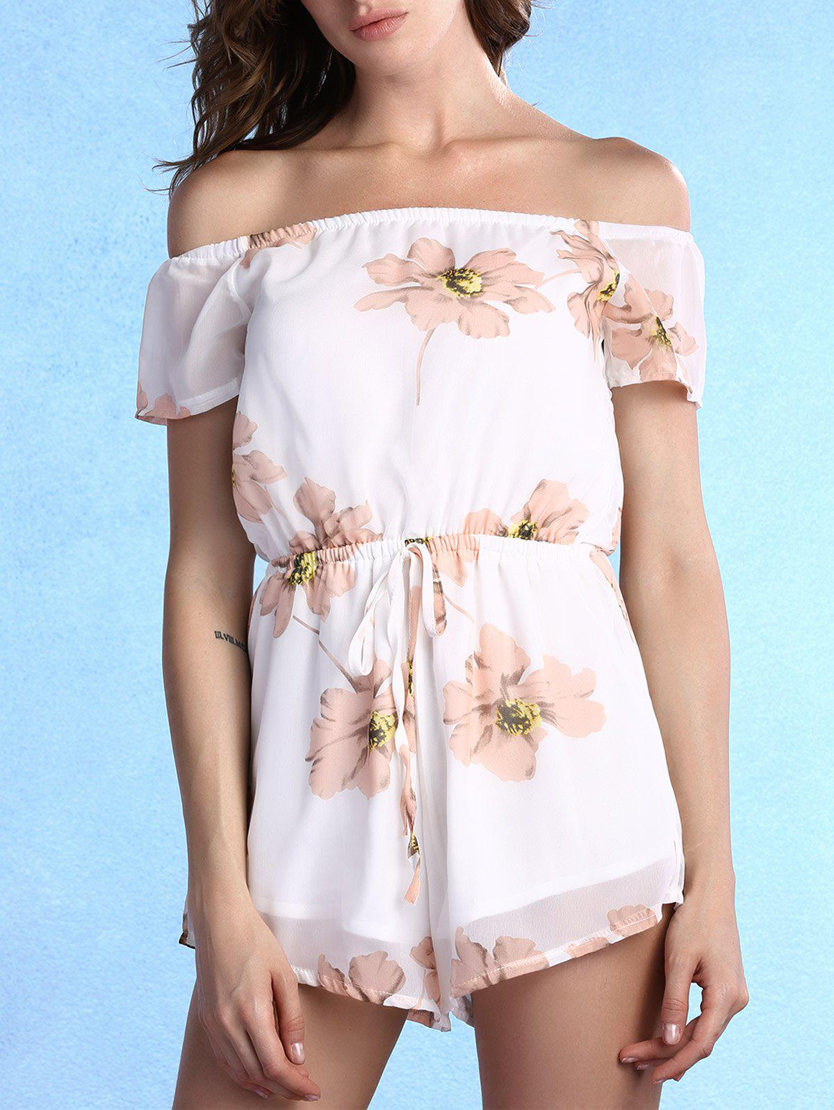 Sweet Off-The-Shoulder Floral Print Self-Tie Women's Romper - WHITE S