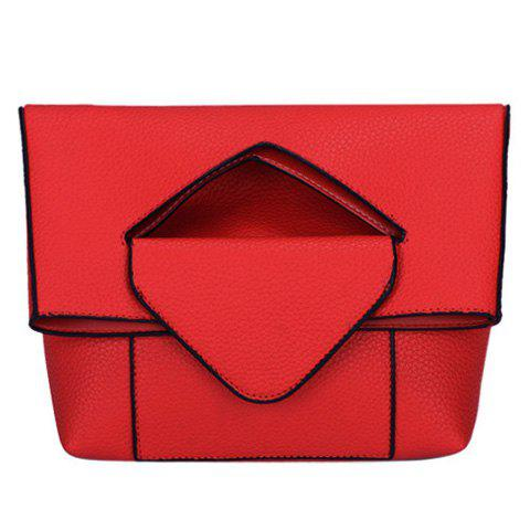 Stylish Solid Color and PU Leather Design Women's Crossbody Bag - RED
