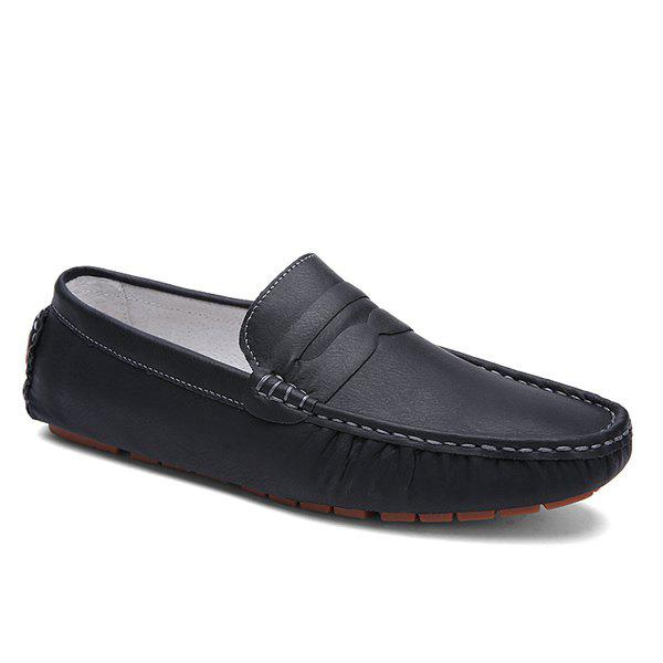 Simple Stitching and Solid Color Design Men's Loafers - BLACK 42