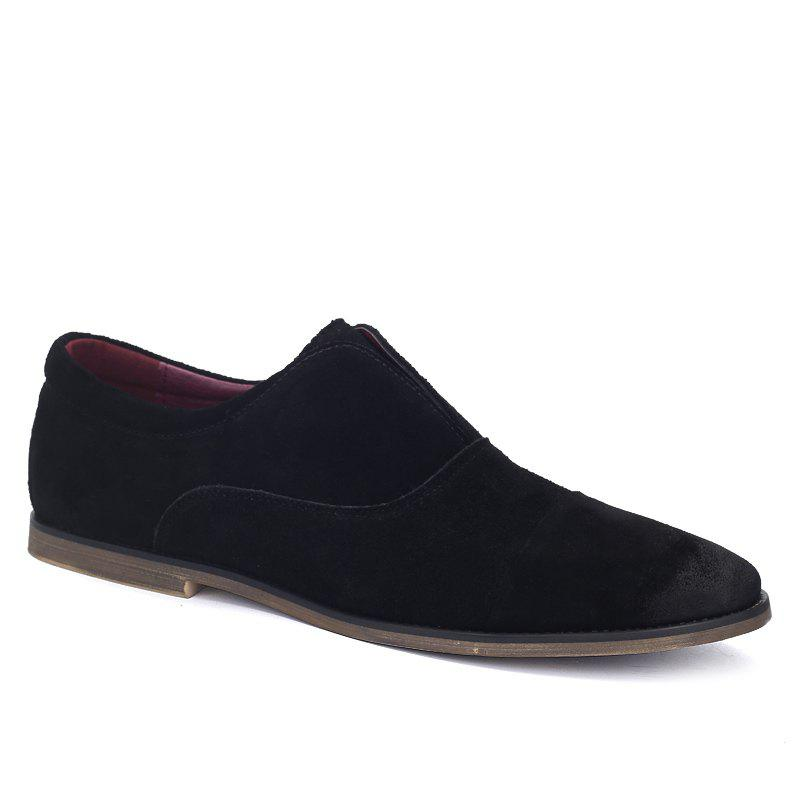 Concise Suede and Slip-On Design Mens Casual ShoesShoes<br><br><br>Size: 43<br>Color: BLACK