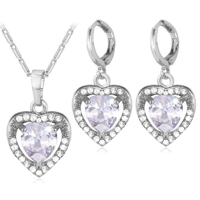 Faux Crystal Heart Jewelry Set - SILVER