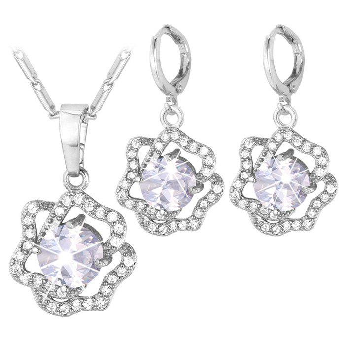 A Suit of Rhinestoned Blossom Necklace and Earrings - SILVER