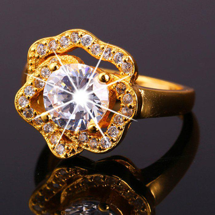 Rhinestone Floral Shape Ring - GOLDEN ONE-SIZE