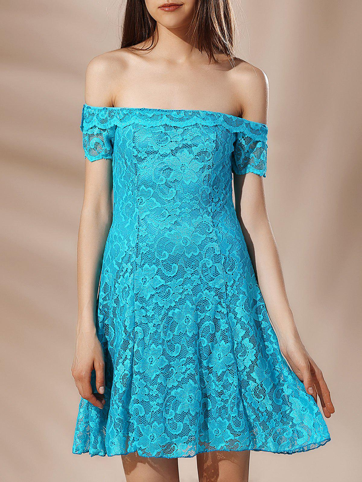Alluring Women's Off-The-Shoulder Solid Color Lace Crochet Dress - LAKE BLUE L