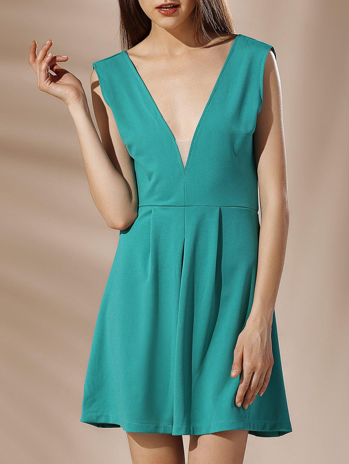 Mini Low Cut Backless A Line Dress - GREEN L