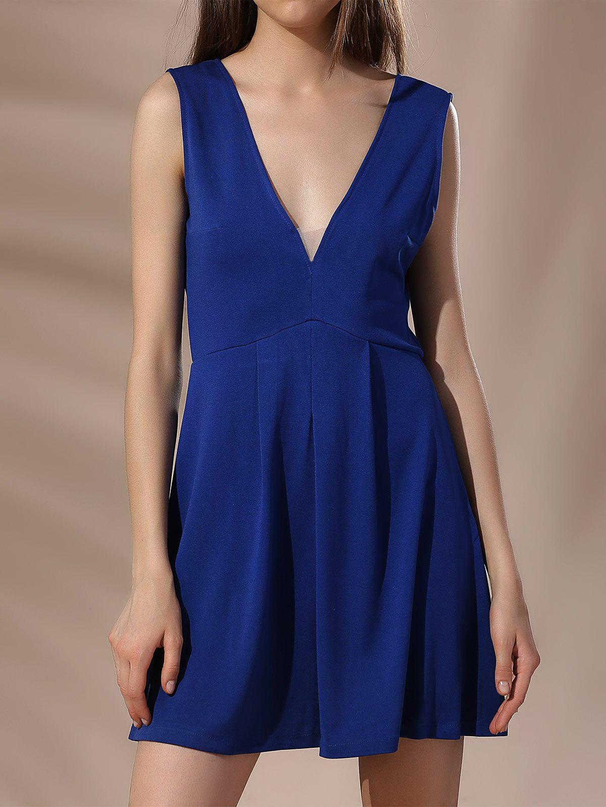 Mini Low Cut Backless A Line Dress - BLUE M