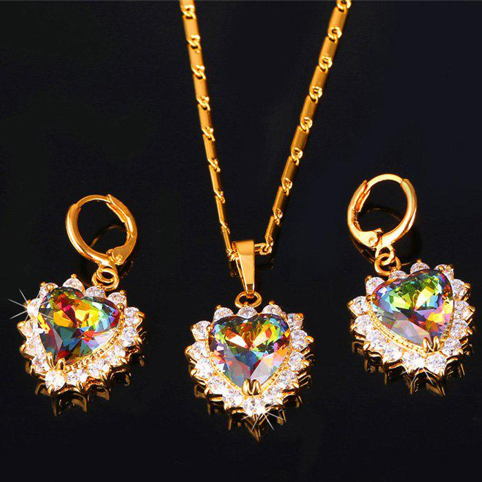 Heart Faux Crystal Necklace and Earrings -  GOLDEN