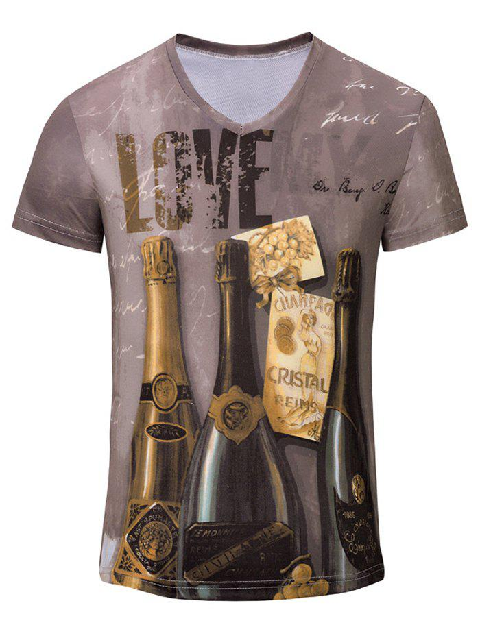 Casual 3D Winebottle Printed Men's Short Sleeves T-Shirt